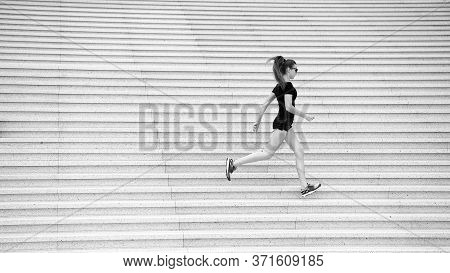 Workout Outdoors. Energetic Woman Run Stairs Outdoors. Active Life. Feel Free. Freedom Concept. Symb