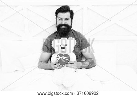 Bearded Hipster Prepare Lovely Gift. Valentines Day Gift. Spread Love. Present For Sweetheart. Man H