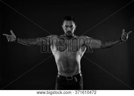 Here I Am. Bearded Man With Tattooed Torso. Macho Sexy Bare Torso. Fit Model With Tattoo Art On Skin