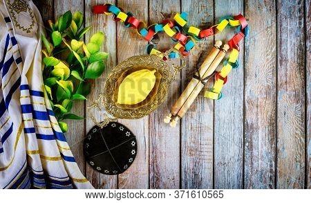 Jewish Ritual Festival Of Sukkot In The Jewish Religious Symbol Etrog, Lulav, Hadas Arava Kippah And