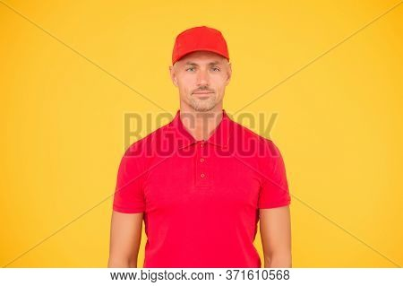 Cool And Stylish. Hipster Yellow Background. Handsome Man In Trendy Hipster Style. Unshaven Hipster