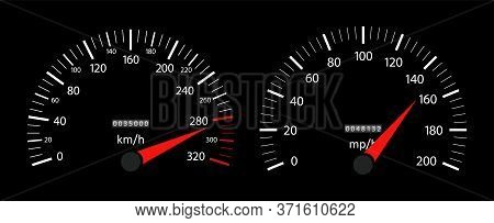 Speedometer Of Car. Fast Speed On Dashboard. Tachometer And Gauge Of Kilometer Or Mile. Auto Panel W