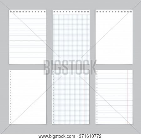 Paper Of Notebook. Page, Sheet For School Note. Background For Education. Notepad For Homework With