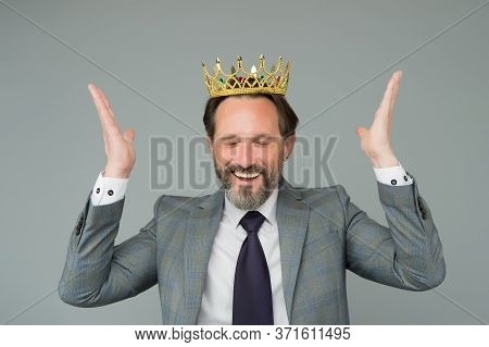Selfish For Success. Businessman Wear Crown Grey Background. Career Success. Bearded Man Enjoy Succe