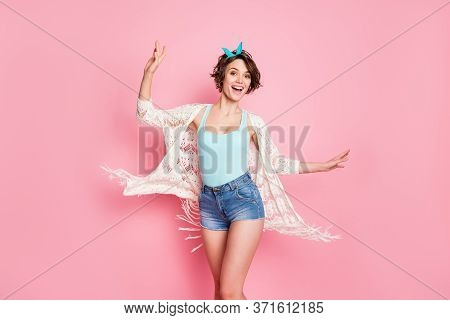 Photo Of Beautiful Attractive Lady Rejoicing Sunny Day Student Pool Party Dancing Excited Wear Headb