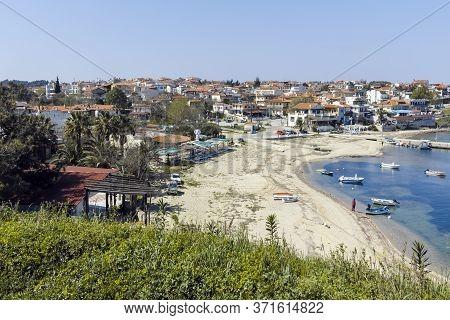 Panorama Of Town Of Nea Fokea, Kassandra, Chalkidiki, Greece