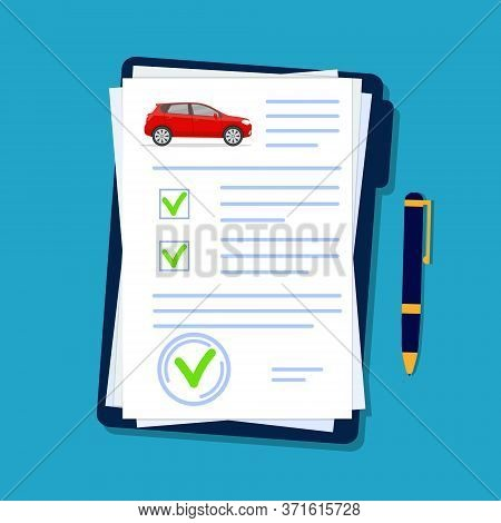 Car Insurance Document In Flat Style. Licence Vehicle Checklist In Folder. Security Agreement For Au
