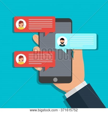 Hand Holds Phone Chat. Message Icon On Screen Mobile. Online Talk In Social Media. Texting Notificat