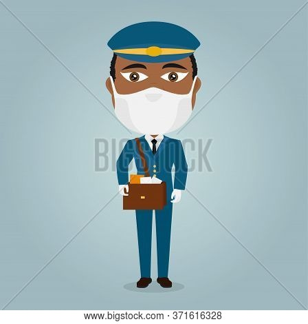 Postman Male Black Mail Deliverer With White Virus Mask And Gloves Bag Of Letters Blue Suit And Hat.