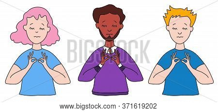 A Man With A Beard And Dark Skin With Closed Eyes In A Shirt And Sweater, A Girl And A Young Man Wit
