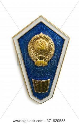 Nizhny Novgorod, Russia - Jun 14, 2020: Old Soviet Badge  Of Humanitarian Secondary Education. Issue