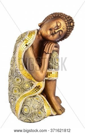 Buddha Statue Isolated On White Background, Brown Brass Buddha Statue.
