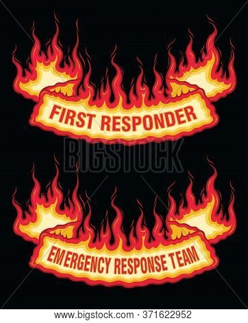 First Responder Fire Flame Banner Bottom Arch Scroll Is An Illustration Of A Bottom Arch Flaming Scr