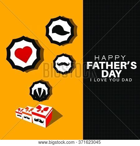Drawings Of Gift Box, Mustache, Tag, Jacket, Heart And Hat On Orange Background. Happy Fathers Day A