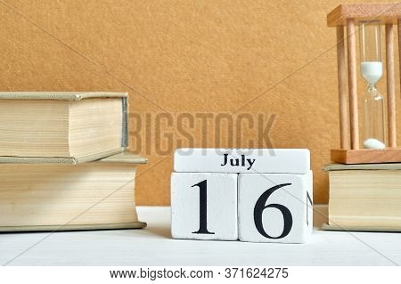 16th July Sixteenth Day Month Calendar Concept On Wooden Blocks