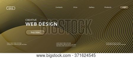 Abstract Vector Curve. Yellow Gradient Landing Page. 3d Flow Shape. Technology Pattern. Gold Abstrac