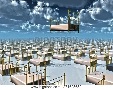 One bed floats above countless beds. 3D rendering