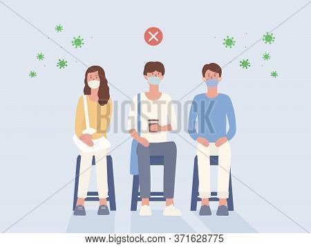 Peoples Wear A Surgical Mask Sitting On A Chair Close To Each Other That Not Social Distancing. Illu