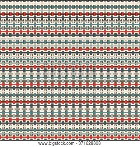 Retro Colors Seamless Pattern With Battlement Curved Lines. Repeated Geometric Figures Wallpaper. Mo