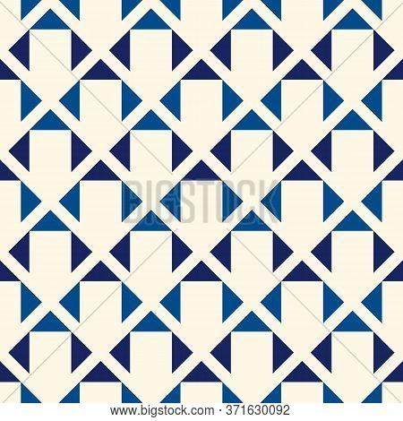 Geometric Seamless Pattern. Minimalist Style Print. Diamond Grid Motif Ornament. Simple Geo Mini Tri
