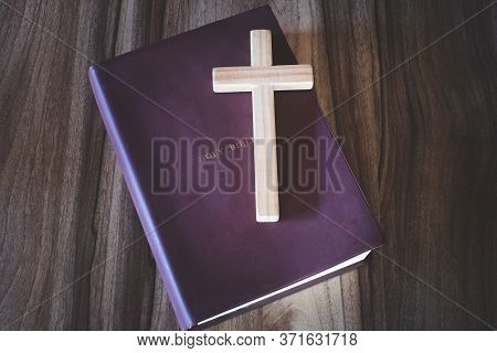 The Crucifix Is Placed On Top Of The Bible. It Is A Blessing From God With The Power And Power Of Ho