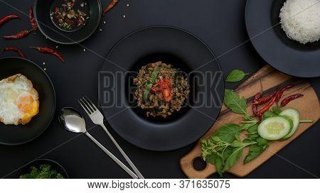 Thai Traditional Food, Stir Fried Minced Pork With Basil (pad Ka Prao), Rice Fried Egg Serving On Bl