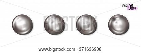 Realistic Construction Rivets, Metal Set Heads Isolated On White Background. Shiny Caps. In Surface