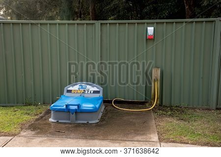 Nsw, Australia. 2020-06-08 Dump-ezy Toilet Dump Point At Holiday Caravan Park For Recreational Vehic