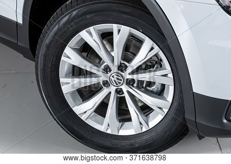 Novosibirsk/ Russia - March 15, 2020: Volkswagen Tiguan, Close-up Of The Alloy Wheel. Photography Of