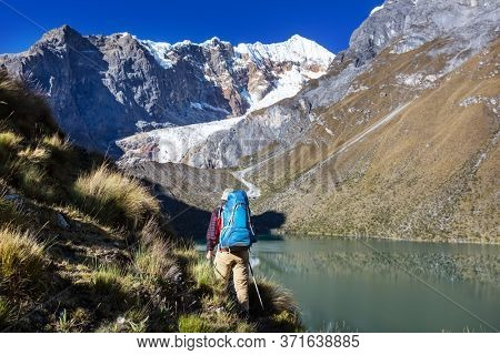 Hiking scene in Cordillera mountains, Peru