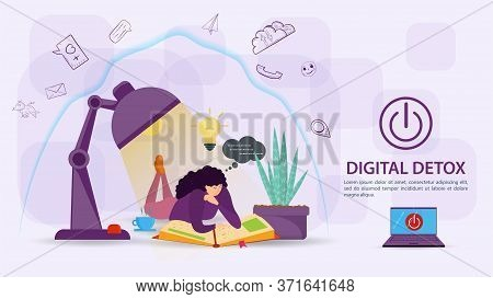 Digital Detoxification, Banner Concept For Web And Mobile Sites, Girl Reading A Book Under A Lamp, U
