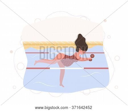 Pregnant Woman In Bikini In Pool. Aqua Fitness And Aerobic. Healthy Lifestyle. Young Mother Exercisi