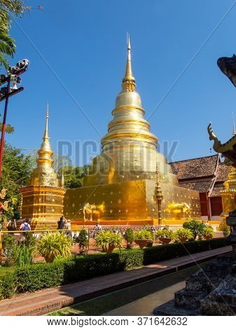 Wat Phra Singh Temple Chiang Mai Thailand-11 January 2020:construction Of Wat Phra Singh, B.e. Year