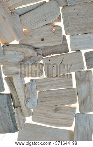 Driftwood Background. Sea Snags Surface. Gray Driftwood. Driftwood Pieces Texture.