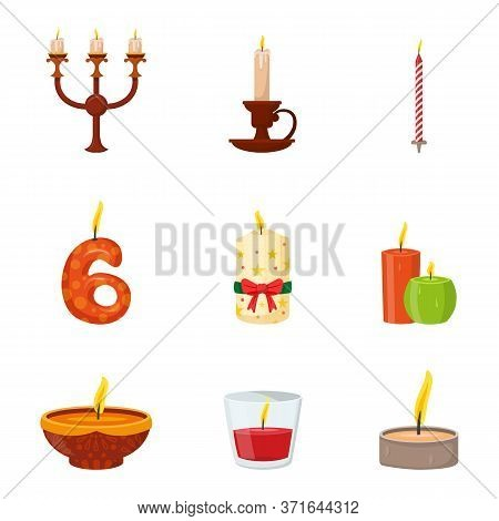 Burning Candles Different Shapes And Design In Candelabrum And Candlestick Set. Objects Isolated On