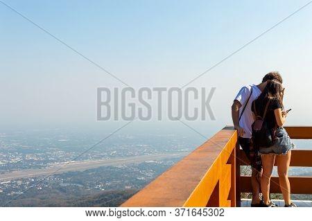 Chiang Mai Thailand-12 January 2020:chiang Mai City 's,landscape View Of Doi Suthep Tourists Taking