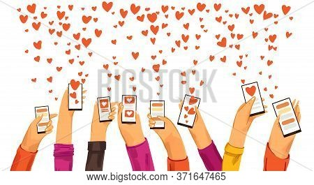 Human Hands Rised Up With Smartphone Dating App, Searching For Love And Romantic Event Or Date, Send