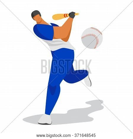 Baseball Player. Vector Image Of A Baseball Player. Athlete With A Bat. Hitting The Ball