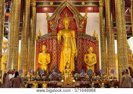 Chiang Mai Thailand-12 January 2020:wat Chedi Luang Temple,standing Buddha Chiang Mai Art Style That