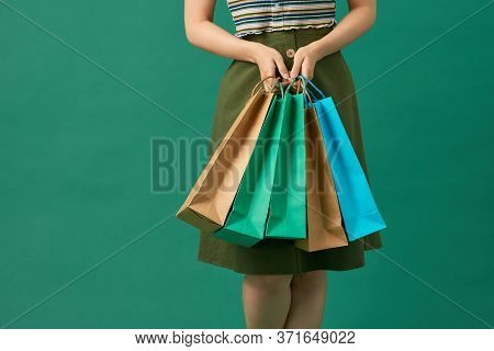 Portrait Beautiful Young Asian Woman Happy Smile With A Lot Of Color Shopping Bag From Department St