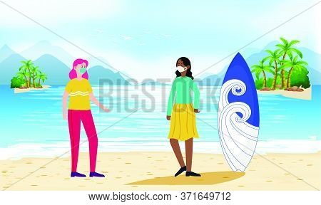 Girls Are Talking To Each Other And Enjoying On The Beach