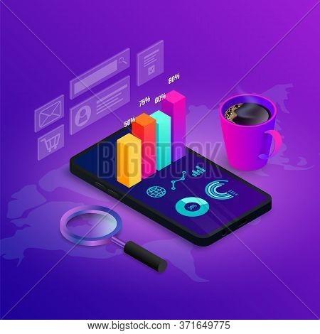 Digital Analytics Seo Isometric Concept. 3d Graph Data On Phone Screen. Marketing Research, Statisti