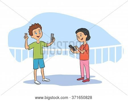 Cute Happy Girl And Boy Taking Selfie Via Mobile Phone Share Photos In Social Media Network. Playgro
