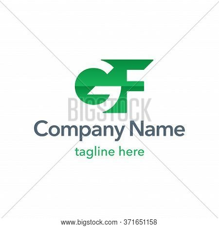 Gf Logo Template In Form And Counter-form Decoration - Modern Style Geometric Emblem With G And F Le
