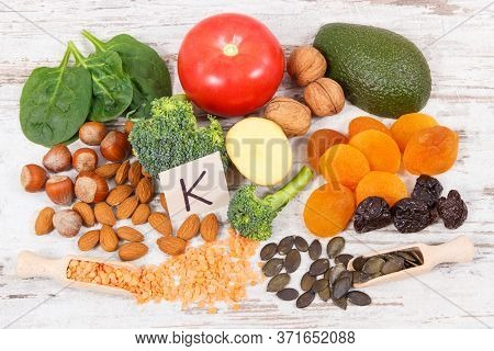 Fresh Fruits And Vegetables Containing Vitamin K, Potassium, Dietary Fiber And Natural Minerals, Hea