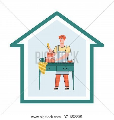 Man Cooking Food At Home - House Frame With Cartoon Person Decorating Cake While Staying Home In Qua