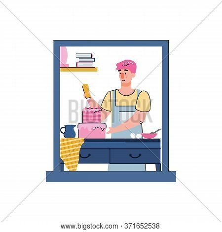 Man Cooking Food At Home - Kitchen Window Frame With Cartoon Person Decorating Birthday Cake. Baker