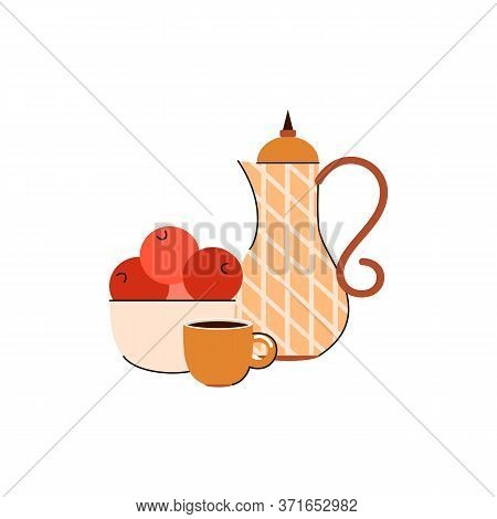 Coffee Pot Or Tea Pitcher And Bowl Of Oranges - Cartoon Breakfast Composition Isolated On White Back