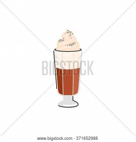 Coffee Drink With Top Of Whipped Cream In Tall Glass, Flat Vector Illustration Isolated On White Bac