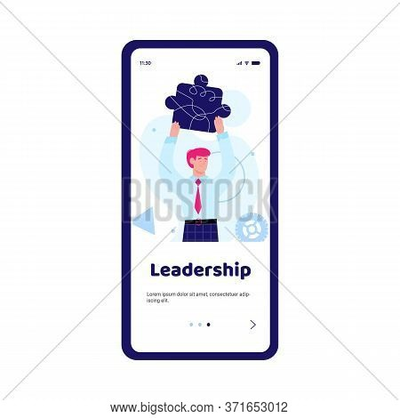 Onboarding Mobile Page Design With Leadership Inscription And Confident Businessman Cartoon Characte
